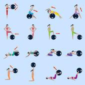 Fitness ball icons set — Wektor stockowy