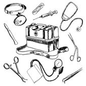 Doctor  medical accessories sketch icons set — Stock Vector