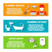Plumbing icons banner set — Stock Vector