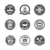 Plumbing service labels — Stock Vector