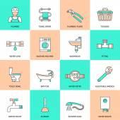 Plumbing Icons Flat Line Set — Stock Vector
