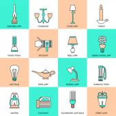 Flashlight and Lamps Icons Flat Line — Vecteur
