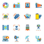 Photography Icons Flat — Stock Vector