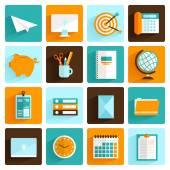 Office icons set flat — Stock Vector