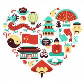 China symbols heart — Stock Vector