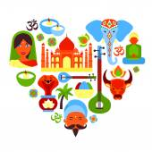 India symbols heart — Stock Vector