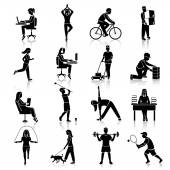 Physical activity icons black — Stock Vector