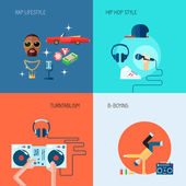 Rap music icons set flat — Stock Vector