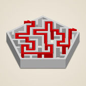 Maze 3d labyrinth with solution — Stock Vector