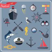 Nautical icons set — Stock Vector