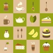 Tea icons set — Stock Vector