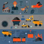 Coal industry line banners — Stock Vector