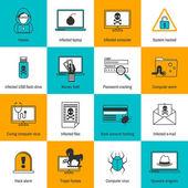 Hacker Icons Flat Line — Stock Vector