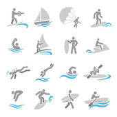 Water sports icons set — Stock Vector