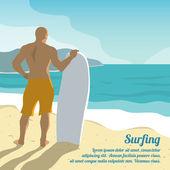 Surfing summer poster — Stockvector