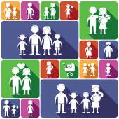 Family icons set flat — Stock Vector