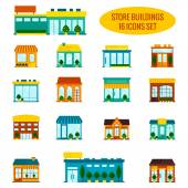Store building icons set — Vettoriale Stock