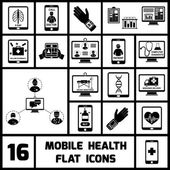 Mobile Health Icons Set Black — Stock Vector