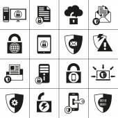 Data Protection Security Icons — Stock Vector