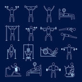 Workout training icons set outline — Stock Vector