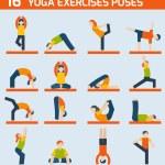 Yoga exercises icons — Stock Vector #53478621