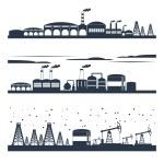 Industrial city skyline banners — Stock Vector