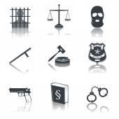 Law and justice icons black — Vector de stock