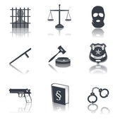 Law and justice icons black — Vecteur