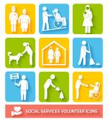 Social services icons set flat — Stock Vector