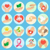 Charity and donation icons — Stock Vector