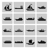 Ship and Boats Icons Set — Stock Vector