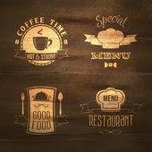 Restaurant menu emblems set wooden — Stock Vector