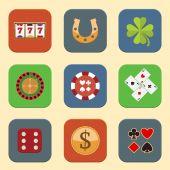 Casino Design Icons — Stock Vector