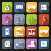Energy Icons Flat Set — Stock Vector