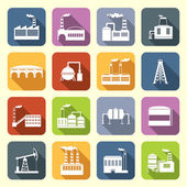 Industrial Building Icons Flat — Vector de stock