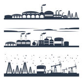 Industrial city skyline banners — Stock Vector