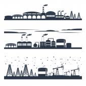 Industrial city skyline banners — Vector de stock