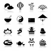 China icons set black — Stock Vector
