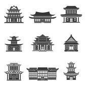 Chinese house icons black — Stock Vector