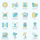 Photography icons flat line — Stock Vector