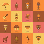 Africa Icons Line Flat — Vetorial Stock