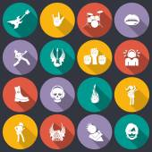 Rock music icons flat — Stock Vector