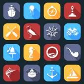Nautical Icons Set Flat — Stock Vector