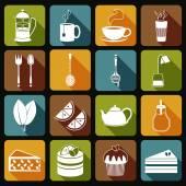 Tea Icons Set Flat — Stock Vector