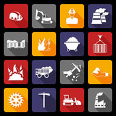 Coal industry icons flat — Stock Vector