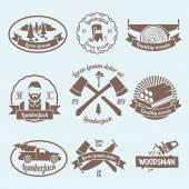 Lumberjack woodcutter label — Stock Vector