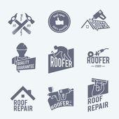 Roofer label set grey — Stock Vector