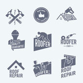 Roofer label set grey — Stock Vector