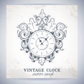 Old vintage wall clock postcard — Stock Vector