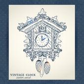 Old retro cuckoo clock postcard — Stock Vector